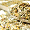 a herbal tea with lemon and ginger pieces