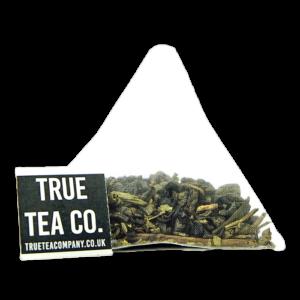 minty fresh gunpowder pyramid green tea bag